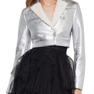 BCBGMaxAzria Faux Leather Metallic Cropped Jacket